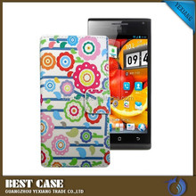 China supplier sunflower design cases and covers for huawei ascend p1 flip leather case with card slot