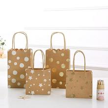 Creative Star/Polka dot printing Coffee Kraft Paper Tote Gift Bag With Paper Twist handle