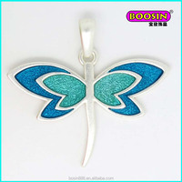 Cheap custom alloy dragonfly shape silver necklace charm pendant #18701-2