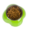Modern Flower Shaped Separable Pet Food Bowl In Steel Material