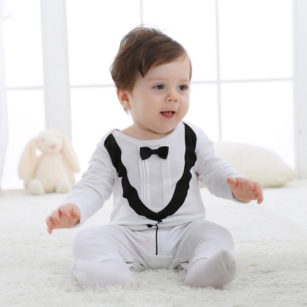 2017 baby boys gentleman vest tie jumpsuit kids modelling infant Long Sleeve climb clothes