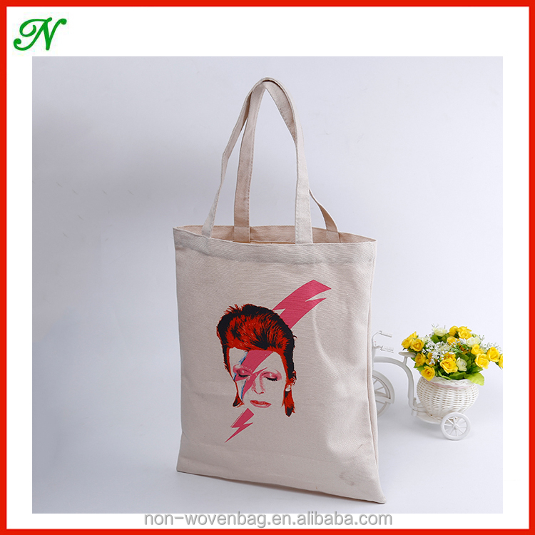 2017 newest fashion Promotional Shopping Drawstring Blank Cotton Custom Printed Canvas Tote Bags