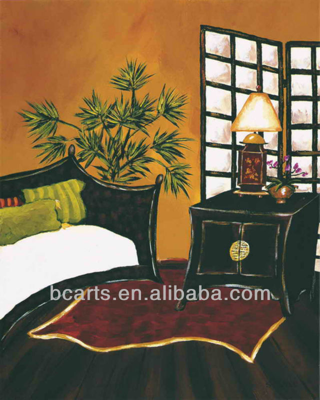 Pure hand-painted classical abstract canvas at painting of Japanese bedroom corner