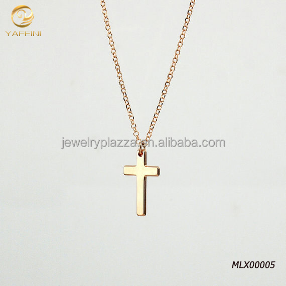 18K Rose Gold Plated 925 Sterling Silver Cross Necklace
