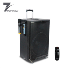 High quality wooden 15 Inch bass sound speaker with battery and wheels