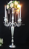Wholesale silver candelabra centerpieces with flower bowl for wedding table