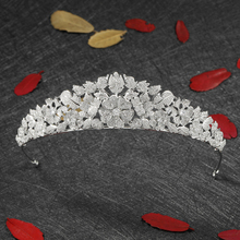High Quality Crown Wedding Crown Tiaras Silver CZ full Round Crown