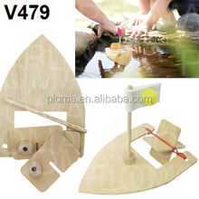 DIY rubberband wooden boat science educational toys for kids