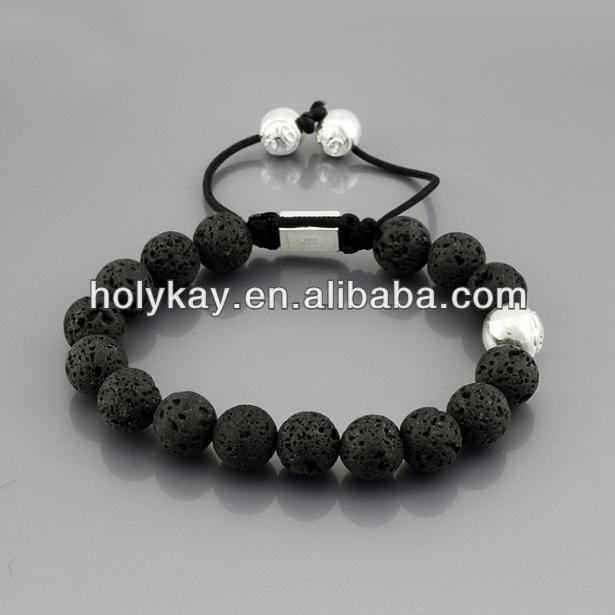 2016 popular lucky natural lava stone beaded braided cord bracelets
