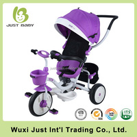 Luxury metal baby tricycle/ kids push tricycle with canopy
