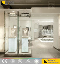 High-end glass wall jewelry display cabinet showcase design for jewelry shop