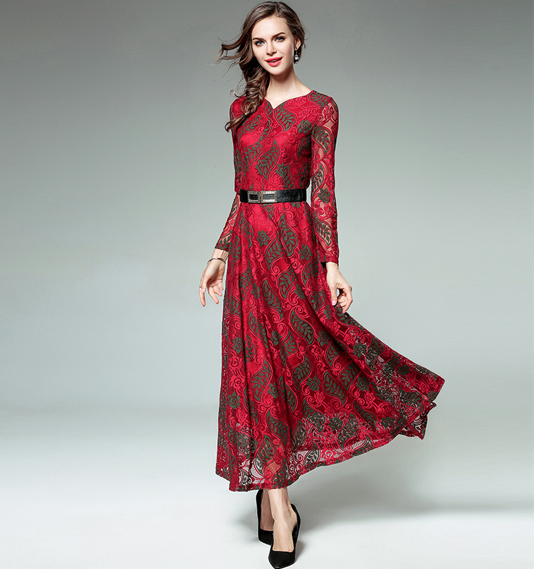 Vintage Inspired Fashion Women Red dress Lace Jacquard dress V-neck Sexy evening dress