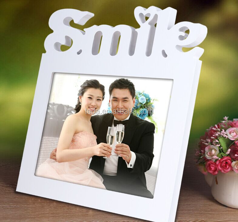 Laser cut smile wooden photo frame