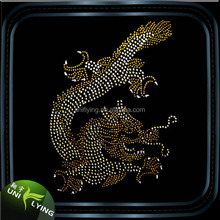 Hot Fix Dragon Crystal Motif Wholesale Rhinestone Heat Transfer Design Factory Direct Sale