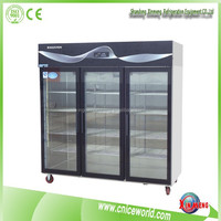 Upright glass door style 3 door beverage display cooler