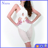 Fashion Design Mesh Bottom Scuba Upper Slim White Ladies Night Sexy Dresses