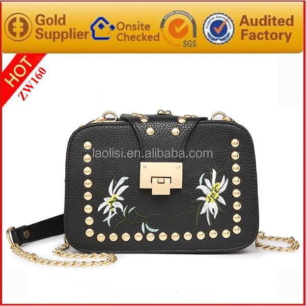 wholesale newest designer lady embroidery tote bag PU leather handbag