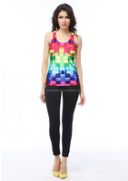 New hot womens t-shirt 3D colorful vest top printed tank tops