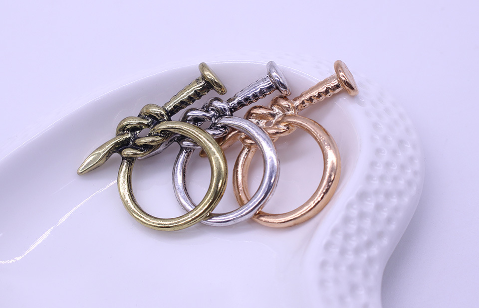 hot fashion new vintage punk nail statement ring 3 colors bronze silver rings personality