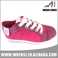 latest nice pink color low cut cemented cheap girls kids canvas shoes