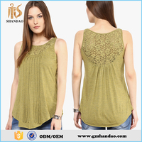 Guangzhou shandao plain dyed cotton sleeveless summer fashion women tops blusas 2015