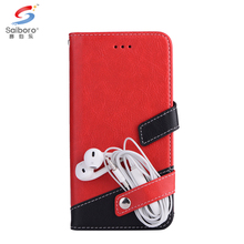 Contrast color high quality wallet leather phone case for samsung galaxy note 8