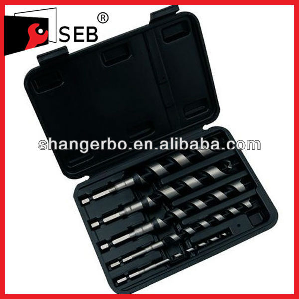 Plastic box Hexagon shank Black teeth Wood Auger drill bit set