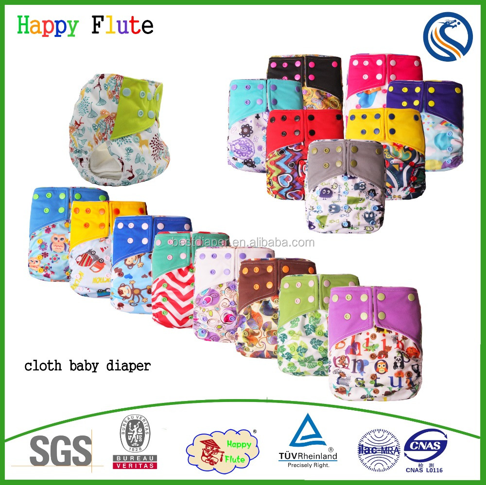Happy flute one size cloth baby diaper washable pocket nappy wholesale