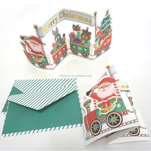 2016 3d laser cutting greeting card packaging for Christmas, handmade greeting card supplies