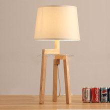 solid wood tripod white fabric shade table lamps / floor lamp