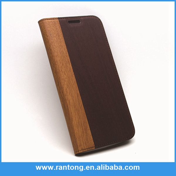 Hot promotion unique design wood wallet flip cover for iphone 6 for promotion