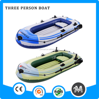 wholesale yiwu factory green color 3 person pvc inflatable boat