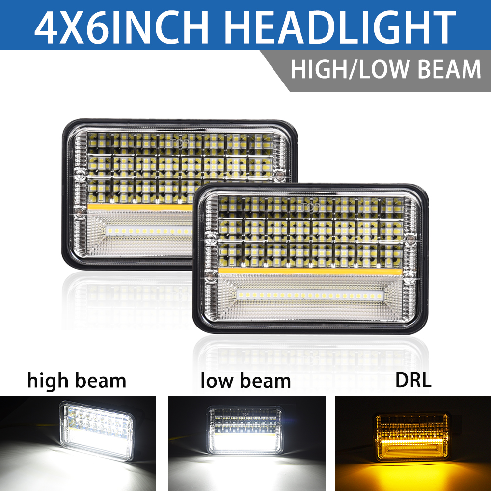 Double couleur 4x6 led phare étanche led pour camion