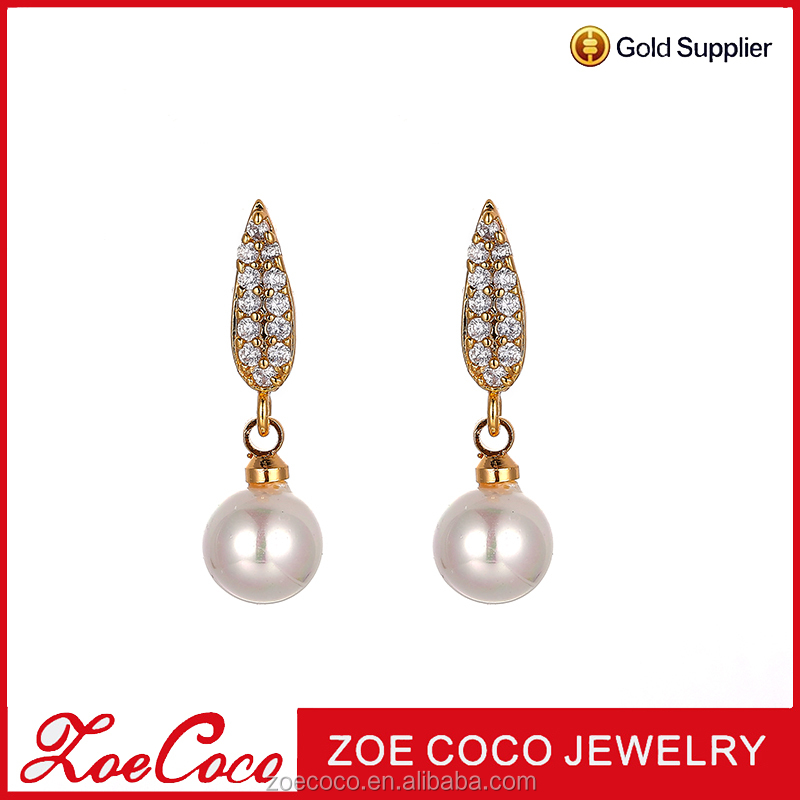 2017 cheap wholesale price fashionable pearl earrings design