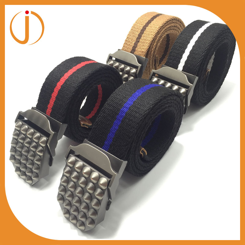 High quality Best-Selling alloy buckle fashion woven mens canvas belts stripe