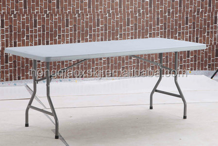 HDPE folding display table/plastic panel with strong composition/stainless legs mobile table/6ft*3ft size