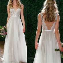 ZH0612F 2017 Lace Wedding Dress Bohemian Beach Bridal Gowns Split Spaghetti Strap Backless Dress