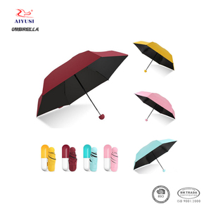 Portable anti ultraviolet travel capsule small pocket size folding umbrella