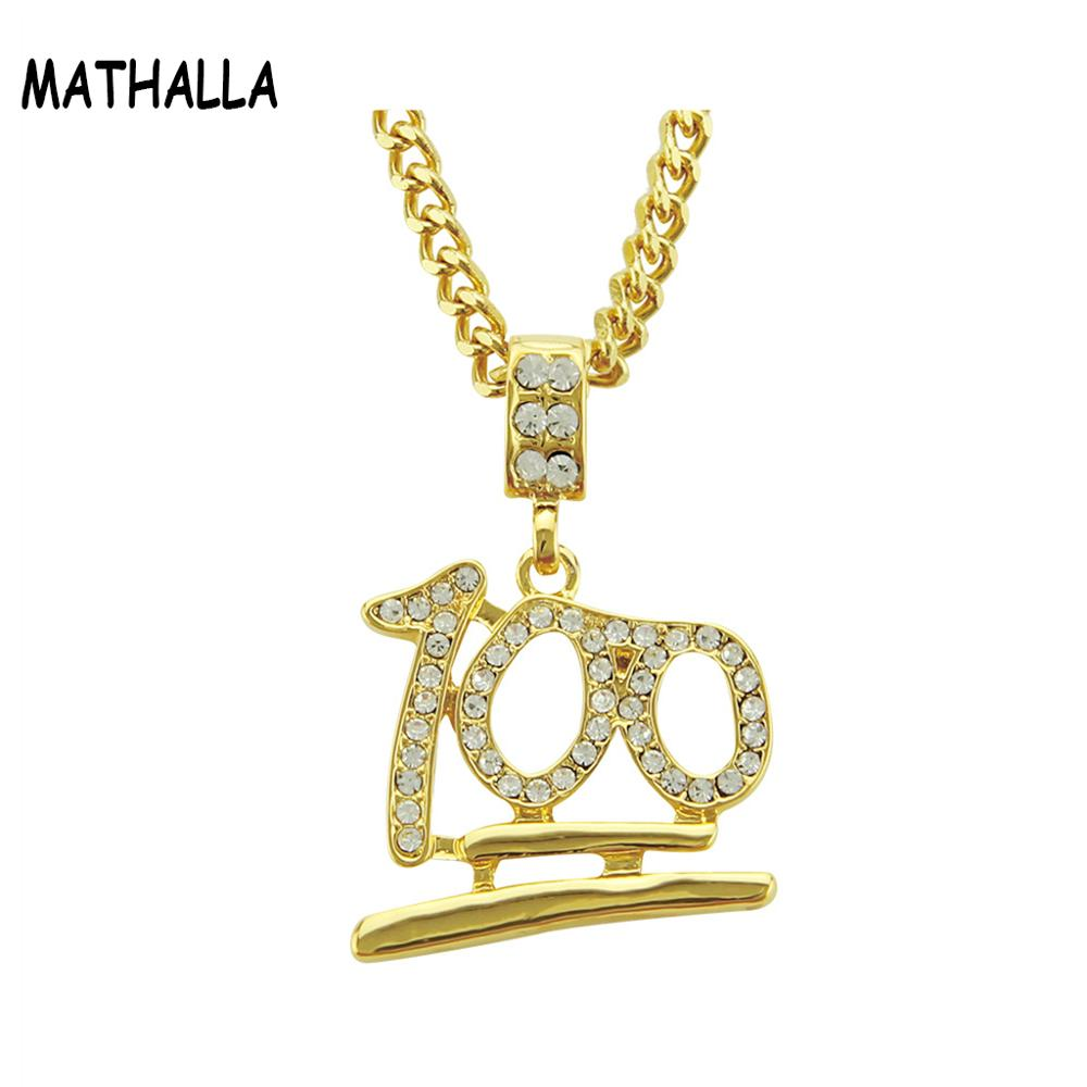 Bes Jewelry Number <strong>100</strong> Pendant with Rhinestone Men Long Chain Necklace Alloy Hiphop Jewelry Homme