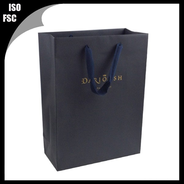 Folding fashion paper gift bag with hot foil stamp