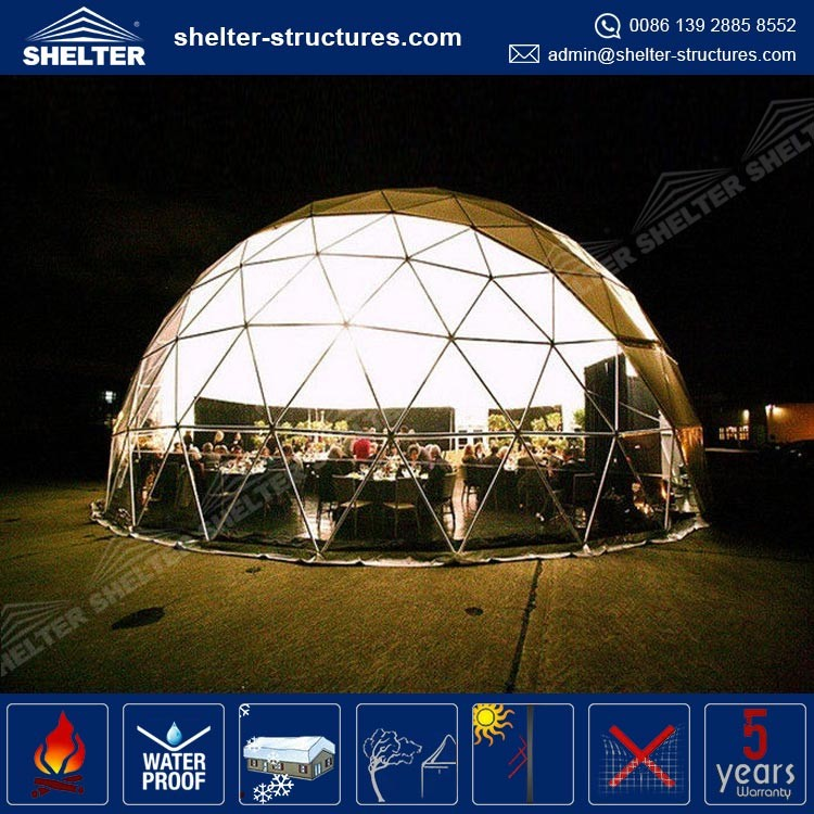 Long life span aluminum frame, PVC fabric covers for roof and walls geodesic dome cover / dome sheds / dome roof party tents