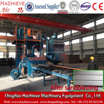 Roller Conveyor Type H Beam Shot Blasting Machine / Automatic shot blasting equipment