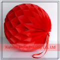 Red Christmas Hanging Honeycomb Balls Paper Lanterns For Garland Party Decorations