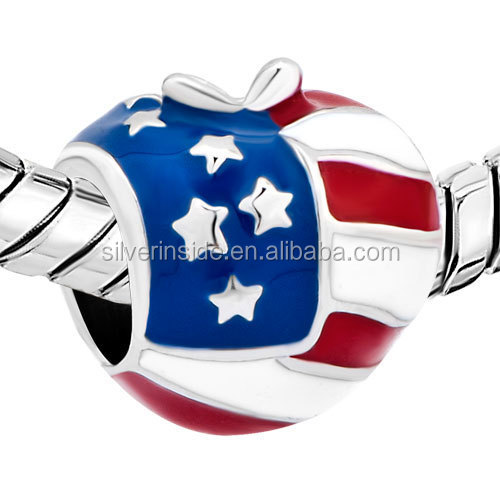 European enamel jewelry Bead Charm Metal Beads Big Hole America Usa Flag Heart Love Charms For Bracelets