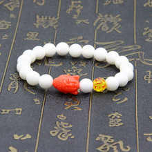 Wholesale New Fashion 8mm White Stone Beads Colorful Big Buddha Religious Bracelets