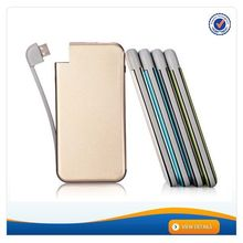 AWC814 For iphone6 Aluminium Slim Built in Cable Power Bank with Battery Display Portable Power Bank 5800mah