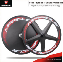 Best quality manufacture Miracle carbon 5 spoke track bicycle wheel, 5 spoke fixed gear wheel tubular