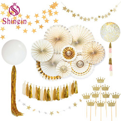 Wholesale new design diamond bouquet tiara balloon cake topper fans garlands paper decoration wedding favor for wedding party