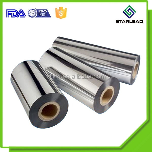Heat Sealable Metallic Cpp Film / Metallised Bopp Film / Metallic Pet Film Roll