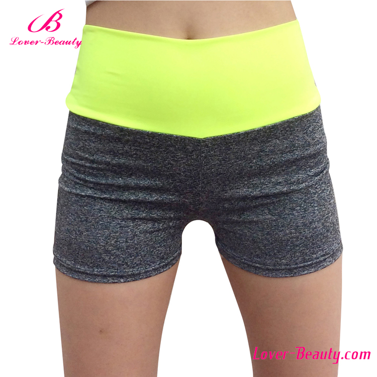 Private label bright yellow waist women bicycle padded cycling shorts